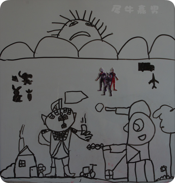 奥特曼激光,打怪兽_乐乐简笔画