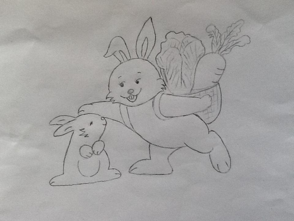 白兔素描简笔画