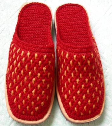 diy手工钩织拖鞋,与你共欣赏