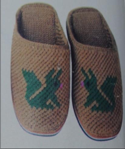 纯手工毛线钩织拖鞋 防滑加厚底